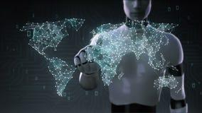 Roboten rörande skärm för cyborg, den olika hälsovårdteknologisymbolen förbinder den globala världskartan, prickar gör världskart