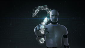 Roboten rörande skärm för cyborg, Digitala linjer skapar form för frågefläcken, digitalt begrepp