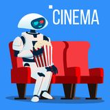 Roboten sitter på stol i bio i exponeringsglas 3D och håller popcorn i handvektor isolerad knapphandillustration skjuta s-startkv stock illustrationer