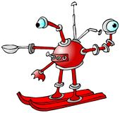 Roboten skidar på stock illustrationer