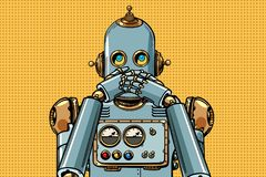 Roboten täckte hans mun royaltyfri illustrationer