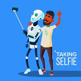 Roboten tar en Selfie på Smartphone med vännen Guy Vector isolerad knapphandillustration skjuta s-startkvinnan stock illustrationer