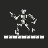 Roboten utgöras av olika elektriska hjälpmedel vektor illustrationer