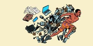 Roboten vänder in i en mänsklig konstgjord intelligens Afro- amerikan vektor illustrationer