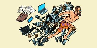Roboten vänder in i en mänsklig konstgjord intelligens royaltyfri illustrationer