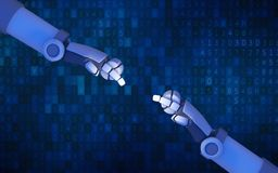 Roboter übergibt auf blaues Computerdatencodeba miteinander zeigen stock abbildung