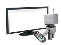 Roboter 3D mit Ferncontol und Fernsehapparat Lizenzfreies Stockfoto