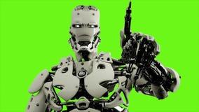 Roboter Android drückt die Tasten Realistische geschlungene Bewegung auf grünem Schirmhintergrund 4K