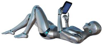 Roboter-Android-Frauen-Tablet lokalisiert Stockfotografie