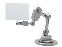 Roboter-Arm, der einen Textvorstand hängt Lizenzfreie Stockfotografie