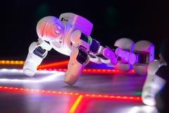 Roboter AUSSTELLUNG Robopolis in Minsk, Weißrussland Tanzenroboter lizenzfreie stockbilder