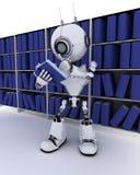 Roboter am Bücherregal Stockbilder