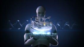 Roboter Cyborg öffnen zwei Palmen, Wissenschafts-Labor, DNA, Experiment, Gentechnik stock video footage