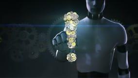 Roboter, Cyborghahn Gang, die goldenen Stahlgänge, die Ausrufezeichen machen, formen stock video footage