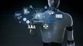 Roboter, Cyborgrührende Finanztechnologieillustrationsikone und verschiedenes Diagramm 2 lizenzfreie abbildung
