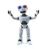 Roboter 3d, der einen Film 3d genießt Lizenzfreies Stockfoto