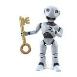 Roboter 3d hat den Schlüssel Lizenzfreie Stockfotos