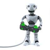 Roboter 3d spielt seine Videospielkonsole mit einem Steuerknüppelprüfer Lizenzfreie Stockfotos