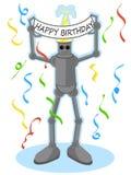 Roboter, der alles Gute zum Geburtstagzeichen anhält Stockfotos