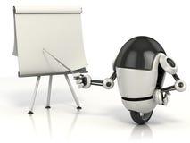 Roboter, der auf den unbelegten Vorstand zeigt Stockfoto