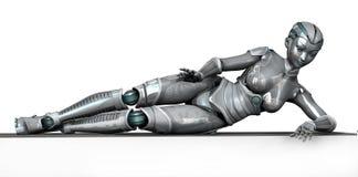 Roboter, der auf Feld-Rand - mit Ausschnittspfad legt Stockfotos
