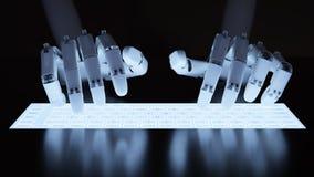 Roboter, der auf Leuchtstofftastatur schreibt Lizenzfreies Stockbild