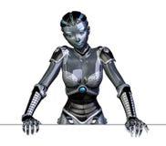 Roboter, der auf Rand sich lehnt Lizenzfreies Stockbild