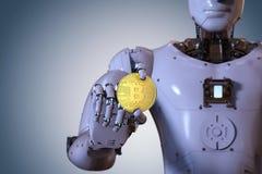 Roboter, der Gold-bitcoin hält Stockbilder