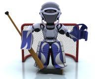 Roboter, der icehockey spielt Stockfotografie