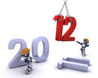 Roboter, der innen das neue Jahr holt Lizenzfreie Stockfotografie