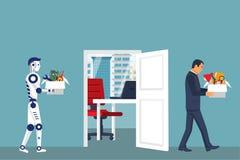 Roboter der künstlichen Intelligenz ersetzt in der Arbeit des Mannes lizenzfreie abbildung