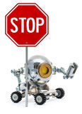 Roboter, der Metallschild mit Text hält Stockfotografie