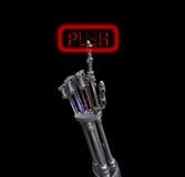 Roboter, der Taste von Hand eindrückt Stockfoto