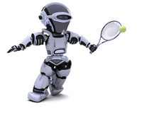 Roboter, der Tennis spielt Lizenzfreie Stockfotografie