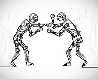 Roboter, der Verpacken spielt lizenzfreie abbildung