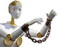 Roboter der Wiedergabe 3d mit der Fessel lokalisiert auf Weiß stock abbildung