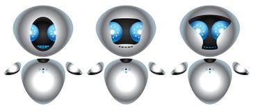 Roboter des Chroms drei mit großen blauen Augen Stockfotografie