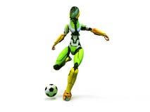 Roboter des Cyborgfußballspielers shoots/3d spielt sauberen Hintergrund des Fußballs Lizenzfreie Stockfotos