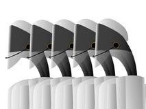 Roboter, die in einem Call-Center arbeiten lizenzfreie abbildung