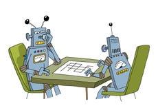 Roboter, die mit einander spielen Stockfoto