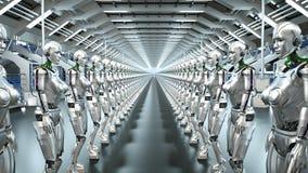 Roboter eines futuristische Humanoid im Sciencefictionshangar Wiedergabe 3d stock abbildung
