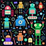 Roboter eingestellt auf Schwarzes Lizenzfreie Stockfotos