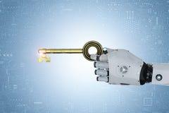 Roboter entriegeln mit Schlüssel Stockfoto