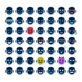 Roboter-Gesichts-Ikonen eingestellte lächelnde Gesichts-unterschiedliche Gefühl-Sammlung Roboter-Emoji stock abbildung
