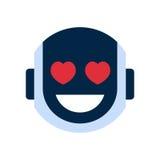 Roboter-Gesichts-Ikonen-lächelndes Gesichts-Gefühl Roboter-Emoji stock abbildung