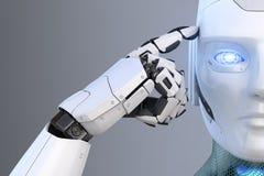 Roboter hält einen Finger nahe dem Kopf stock abbildung