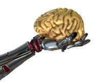 Roboter-Hand, die menschliches Gehirn anhält lizenzfreie abbildung