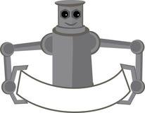 Roboter-Holding-Fahnen-Maskottchen Stockfotografie