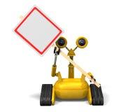 Roboter-Holding-Zeichen Stockfotografie