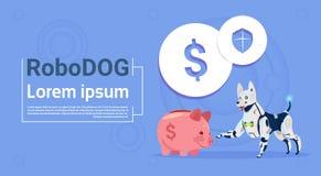 Roboter- Hunde-Sit With Piggy Bank Online-Bankwesen-Konzept-tierische moderne Roboter-Haustier-künstliche Intelligenz-Technologie lizenzfreie abbildung